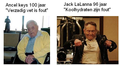 Ancel Keys en Jack LaLanna op hoge leeftijd, de laatste duidelijk in betere lichamelijke vorm dan de eerste