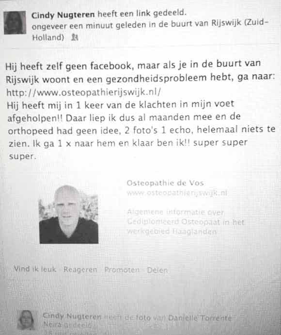 Cindy van Nugteren beveelt Osteopaat Robert de Vos aan op Facebook
