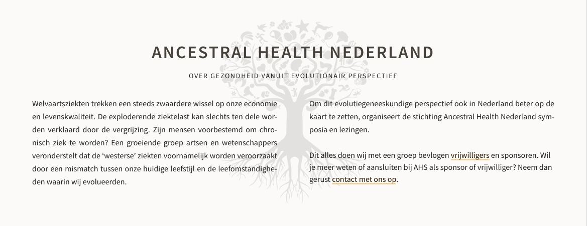 screenshot van website Ancestral Health Nederland